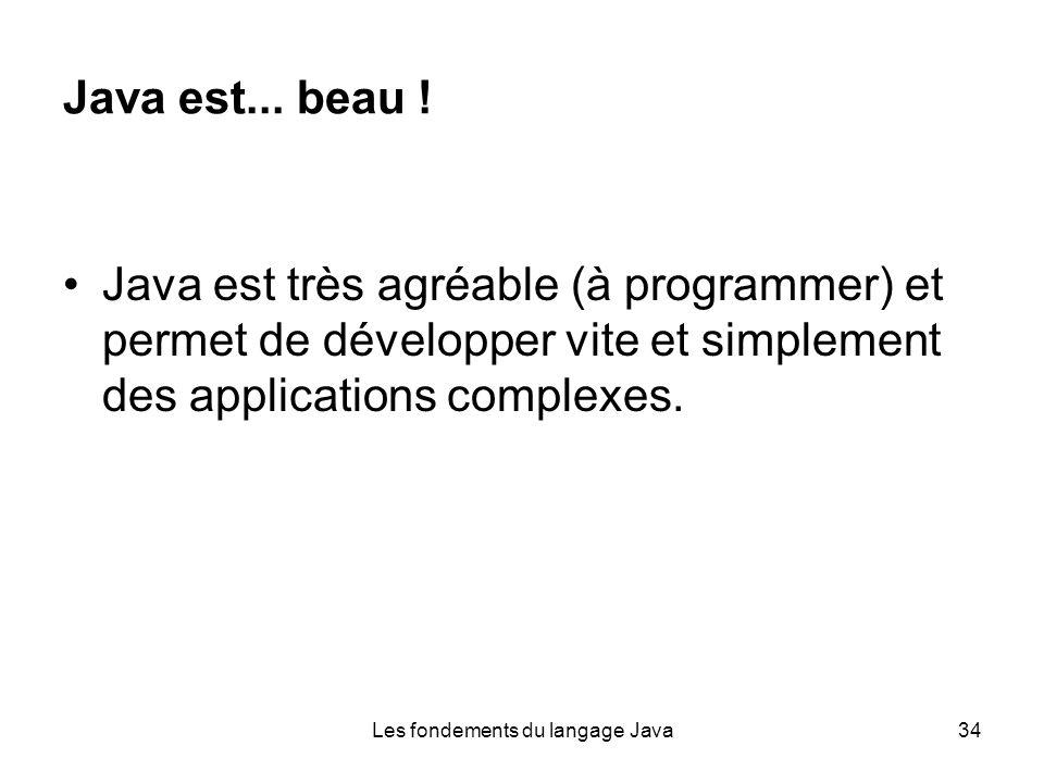 Les fondements du langage Java34 Java est... beau .
