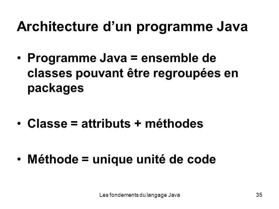Les fondements du langage Java35 Architecture dun programme Java Programme Java = ensemble de classes pouvant être regroupées en packages Classe = attributs + méthodes Méthode = unique unité de code