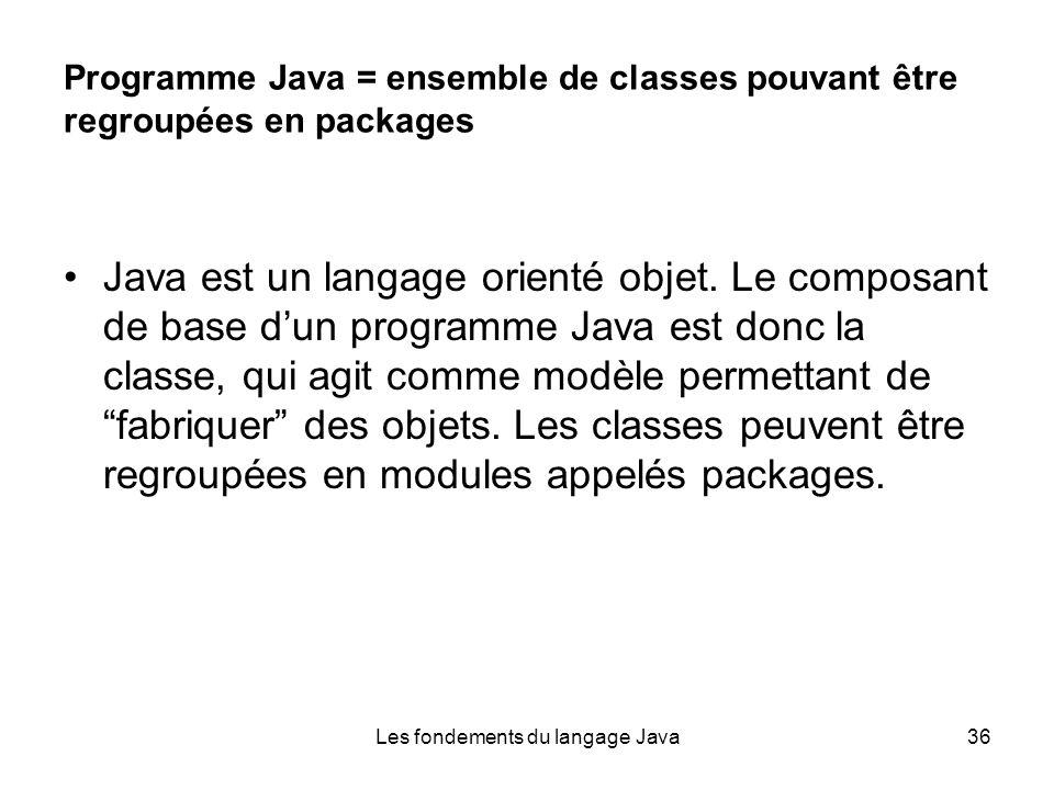 Les fondements du langage Java36 Programme Java = ensemble de classes pouvant être regroupées en packages Java est un langage orienté objet.