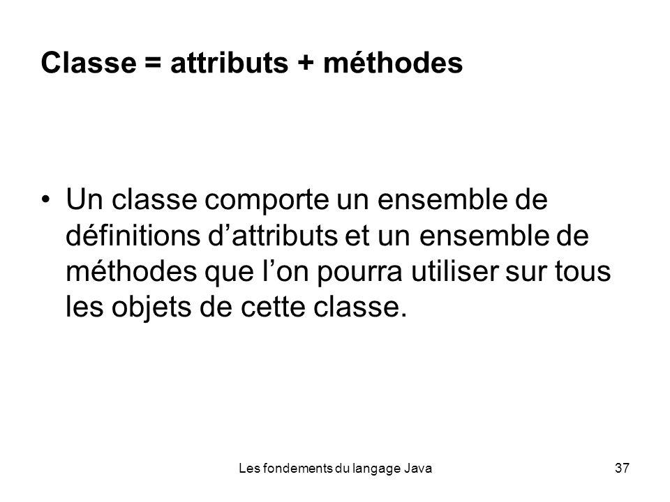 Les fondements du langage Java37 Classe = attributs + méthodes Un classe comporte un ensemble de définitions dattributs et un ensemble de méthodes que lon pourra utiliser sur tous les objets de cette classe.