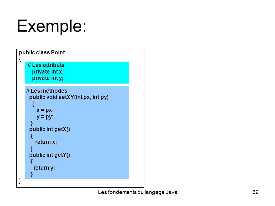 Les fondements du langage Java39 Exemple: public class Point { // Les attributs private int x; private int y; // Les méthodes public void setXY(int px