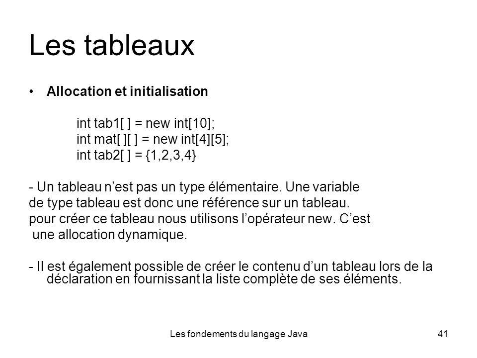 Les fondements du langage Java41 Les tableaux Allocation et initialisation int tab1[ ] = new int[10]; int mat[ ][ ] = new int[4][5]; int tab2[ ] = {1,2,3,4} - Un tableau nest pas un type élémentaire.
