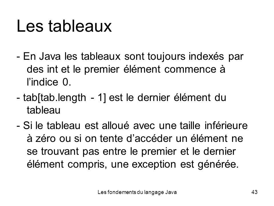 Les fondements du langage Java43 Les tableaux - En Java les tableaux sont toujours indexés par des int et le premier élément commence à lindice 0.