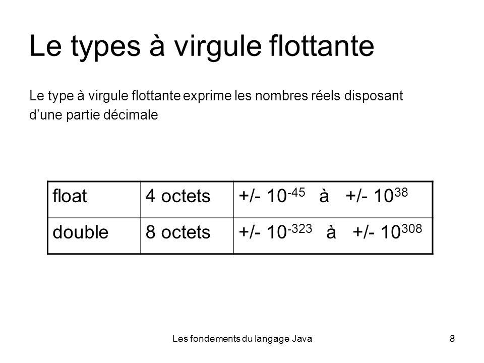 Les fondements du langage Java8 Le types à virgule flottante Le type à virgule flottante exprime les nombres réels disposant dune partie décimale float4 octets+/- 10 -45 à +/- 10 38 double8 octets+/- 10 -323 à +/- 10 308