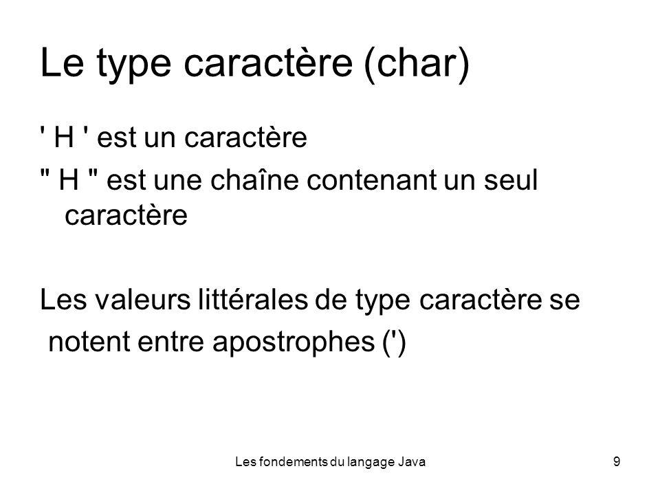 Les fondements du langage Java9 Le type caractère (char) H est un caractère H est une chaîne contenant un seul caractère Les valeurs littérales de type caractère se notent entre apostrophes ( )