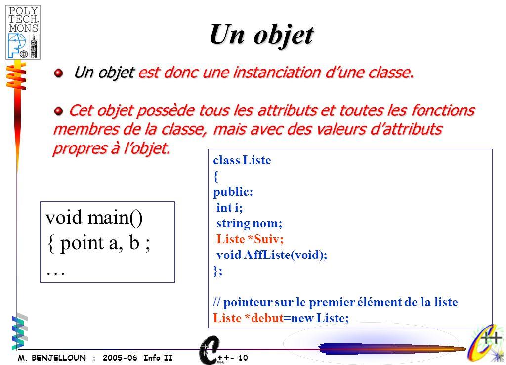 ++ - 10 M. BENJELLOUN : 2005-06 Info II Un objet Un objet est donc une instanciation dune classe. Un objet est donc une instanciation dune classe. Cet
