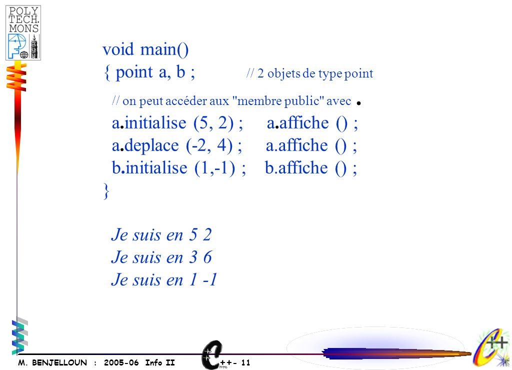 ++ - 11 M. BENJELLOUN : 2005-06 Info II void main() { point a, b ; // 2 objets de type point // on peut accéder aux