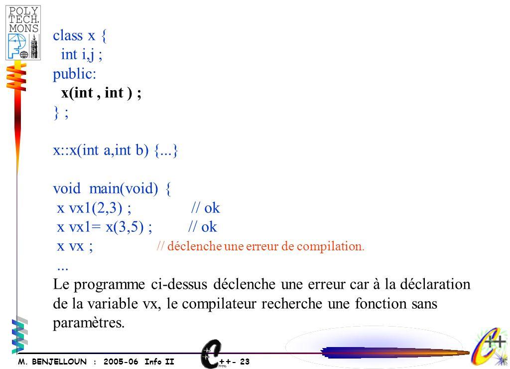 ++ - 23 M. BENJELLOUN : 2005-06 Info II class x { int i,j ; public: x(int, int ) ; } ; x::x(int a,int b) {...} void main(void) { x vx1(2,3) ; // ok x