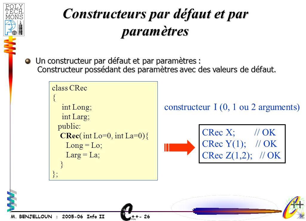 ++ - 26 M. BENJELLOUN : 2005-06 Info II Constructeurs par défaut et par paramètres Un constructeur par défaut et par paramètres : Un constructeur par