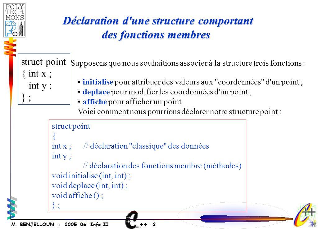 ++ - 3 M. BENJELLOUN : 2005-06 Info II Déclaration d'une structure comportant Déclaration d'une structure comportant des fonctions membres des fonctio