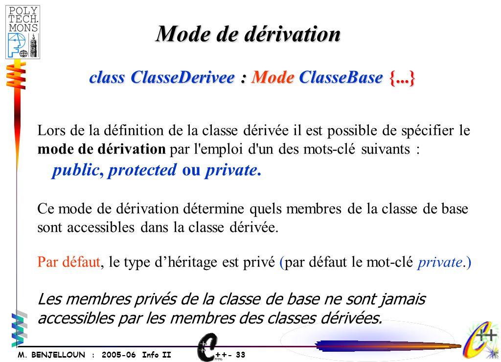 ++ - 33 M. BENJELLOUN : 2005-06 Info II Mode de dérivation Lors de la définition de la classe dérivée il est possible de spécifier le mode de dérivati