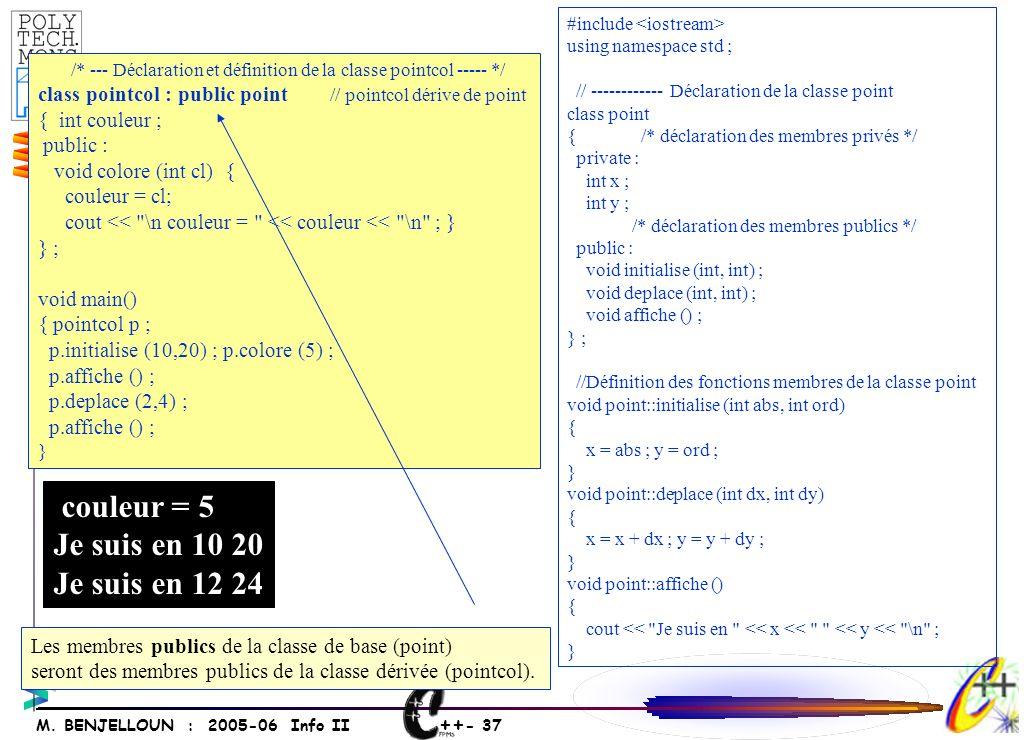 ++ - 37 M. BENJELLOUN : 2005-06 Info II /* --- Déclaration et définition de la classe pointcol ----- */ class pointcol : public point // pointcol déri