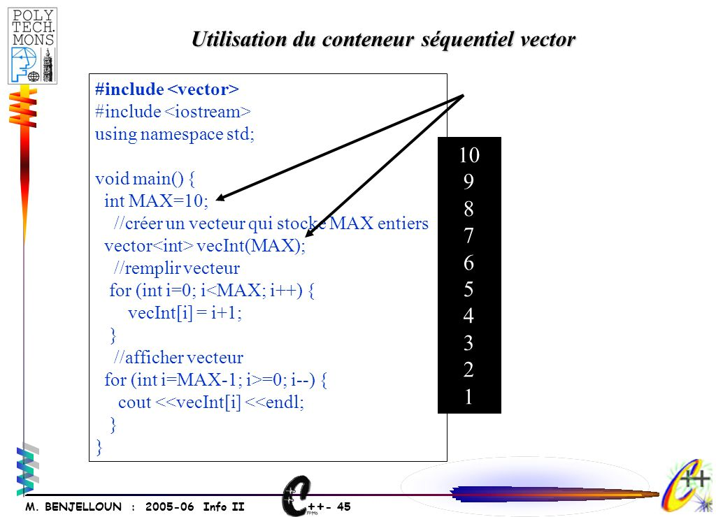 ++ - 45 M. BENJELLOUN : 2005-06 Info II #include using namespace std; void main() { int MAX=10; //créer un vecteur qui stocke MAX entiers vector vecIn