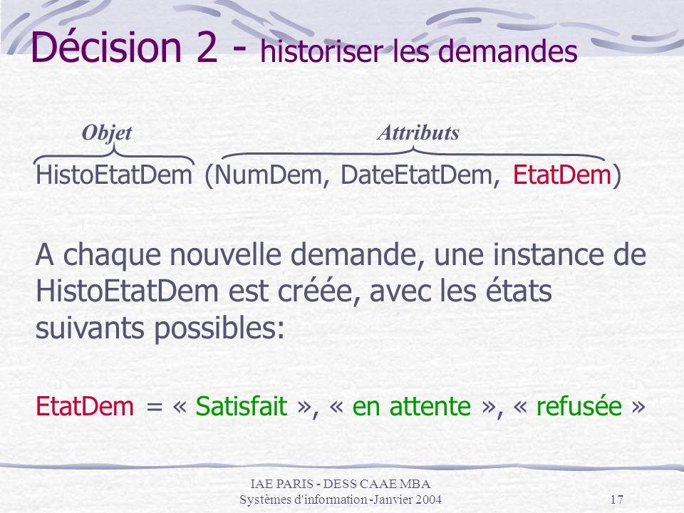 IAE PARIS - DESS CAAE MBA Systèmes d'information -Janvier 200417 Décision 2 - historiser les demandes HistoEtatDem (NumDem, DateEtatDem, EtatDem) A ch