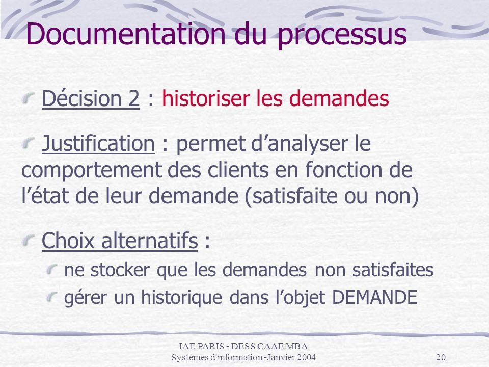IAE PARIS - DESS CAAE MBA Systèmes d'information -Janvier 200420 Documentation du processus Décision 2 : historiser les demandes Justification : perme