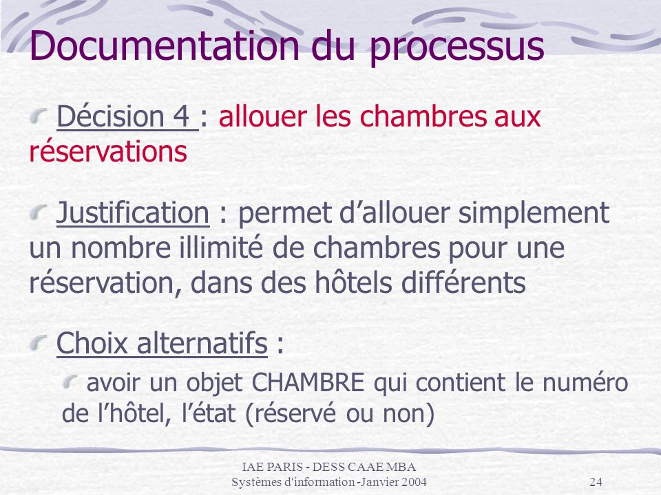 IAE PARIS - DESS CAAE MBA Systèmes d'information -Janvier 200424 Documentation du processus Décision 4 : allouer les chambres aux réservations Justifi