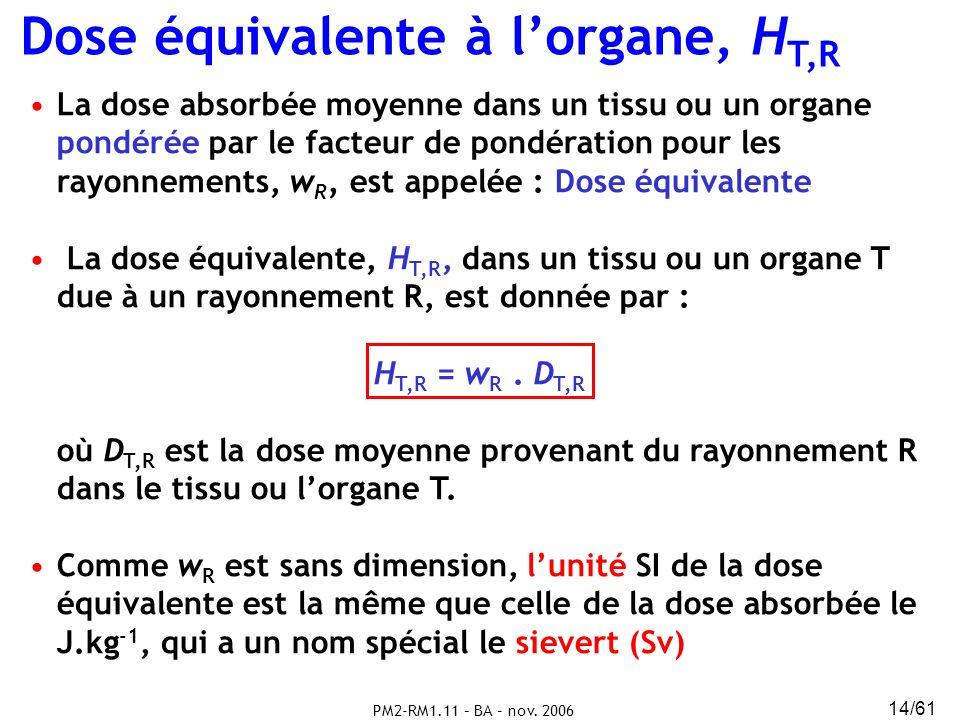 PM2-RM1.11 – BA – nov. 2006 14/61 Dose équivalente à lorgane, H T,R La dose absorbée moyenne dans un tissu ou un organe pondérée par le facteur de pon
