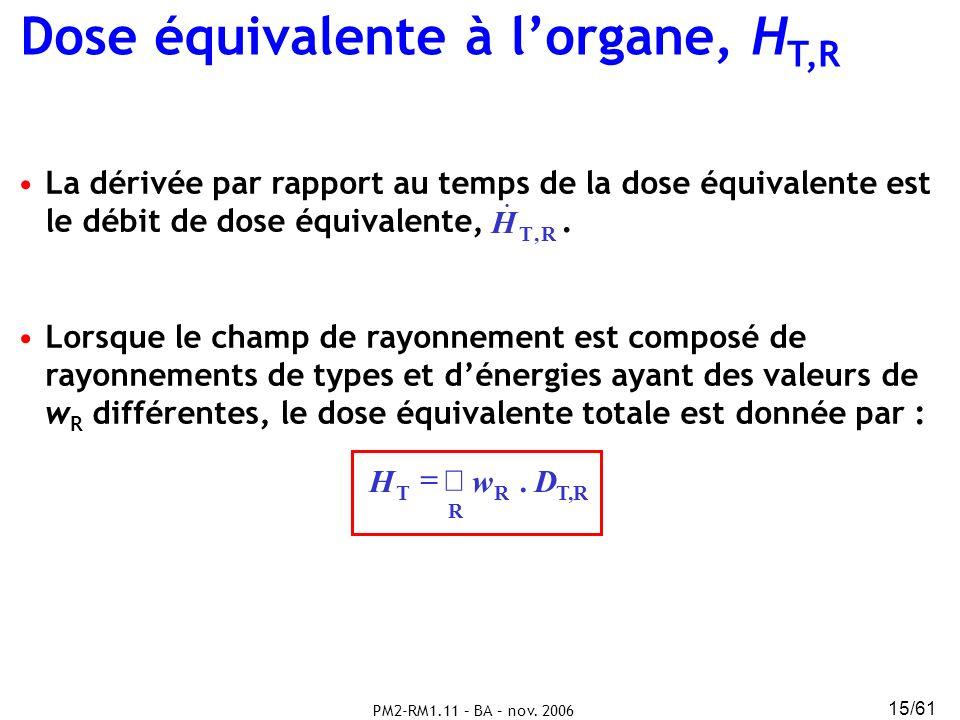 PM2-RM1.11 – BA – nov. 2006 15/61 Dose équivalente à lorgane, H T,R T,R R RT D. w H La dérivée par rapport au temps de la dose équivalente est le débi