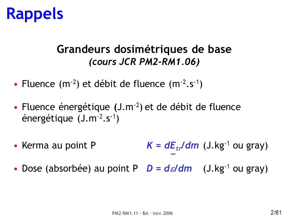 PM2-RM1.11 – BA – nov. 2006 2/61 Rappels Grandeurs dosimétriques de base (cours JCR PM2-RM1.06) Fluence (m -2 ) et débit de fluence (m -2.s -1 ) Fluen