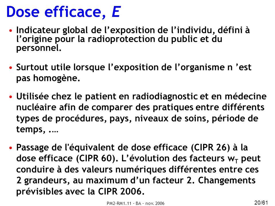 PM2-RM1.11 – BA – nov. 2006 20/61 Indicateur global de lexposition de lindividu, défini à lorigine pour la radioprotection du public et du personnel.