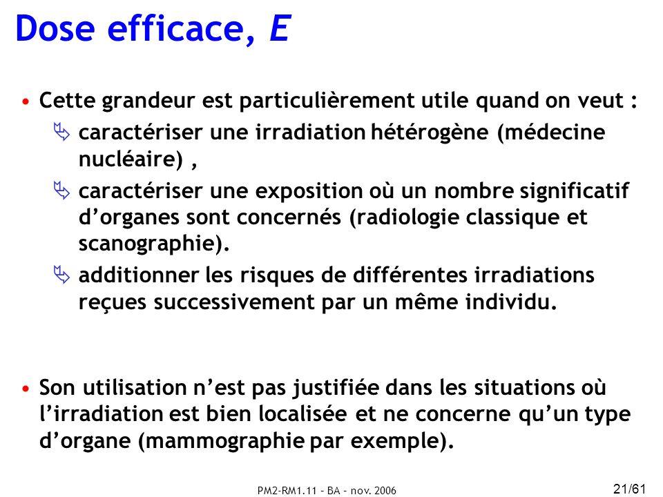 PM2-RM1.11 – BA – nov. 2006 21/61 Cette grandeur est particulièrement utile quand on veut : caractériser une irradiation hétérogène (médecine nucléair