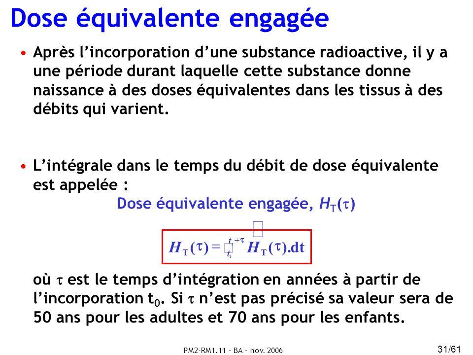 PM2-RM1.11 – BA – nov. 2006 31/61 Dose équivalente engagée Après lincorporation dune substance radioactive, il y a une période durant laquelle cette s