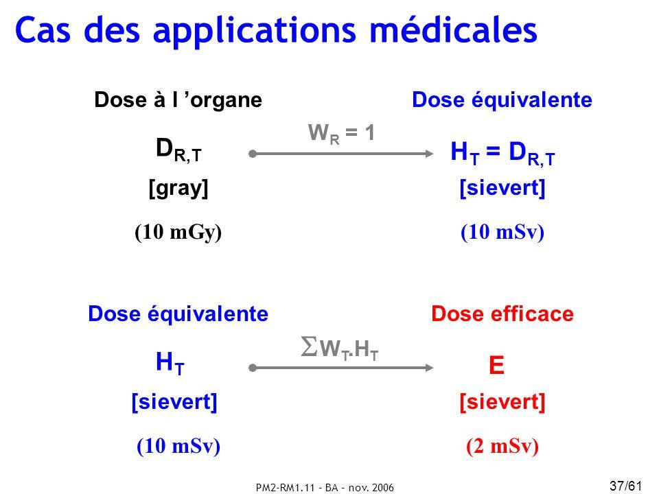 PM2-RM1.11 – BA – nov. 2006 37/61 D R,T H T = D R,T [gray][sievert] Dose à l organeDose équivalente W R = 1 (10 mSv)(10 mGy) HTHT E [sievert] Dose équ