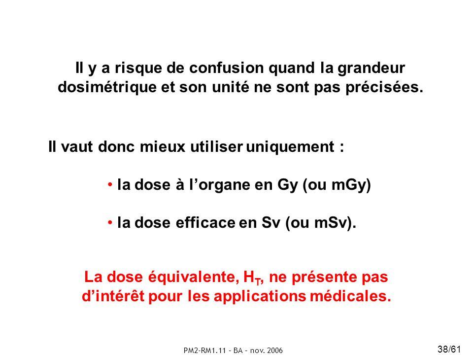 PM2-RM1.11 – BA – nov. 2006 38/61 Il y a risque de confusion quand la grandeur dosimétrique et son unité ne sont pas précisées. La dose équivalente, H