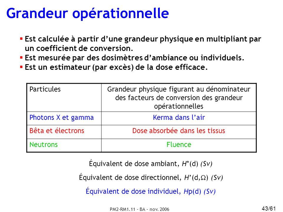 PM2-RM1.11 – BA – nov. 2006 43/61 Grandeur opérationnelle Est calculée à partir dune grandeur physique en multipliant par un coefficient de conversion