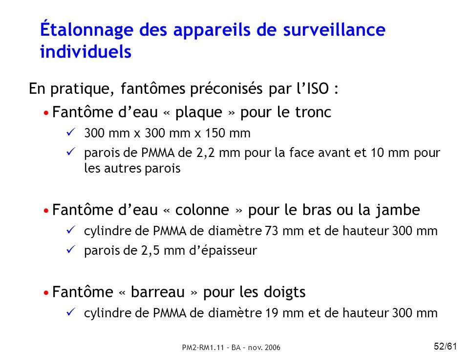 PM2-RM1.11 – BA – nov. 2006 52/61 Étalonnage des appareils de surveillance individuels En pratique, fantômes préconisés par lISO : Fantôme deau « plaq
