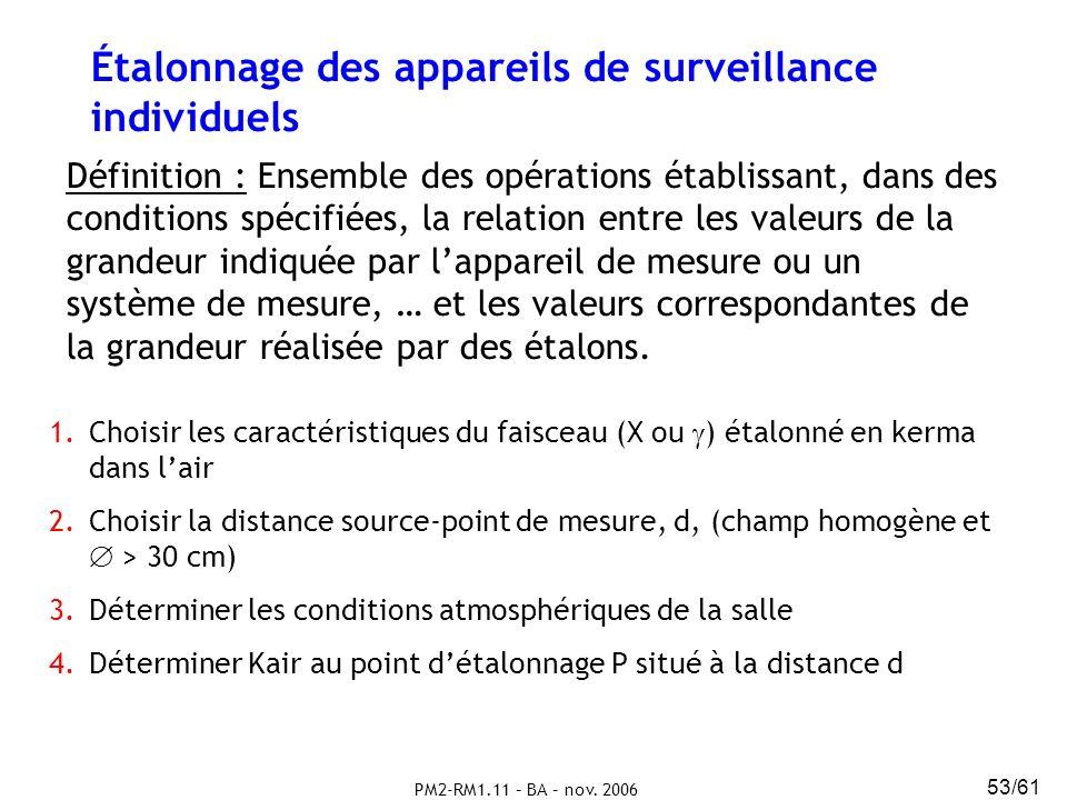 PM2-RM1.11 – BA – nov. 2006 53/61 Étalonnage des appareils de surveillance individuels Définition : Ensemble des opérations établissant, dans des cond