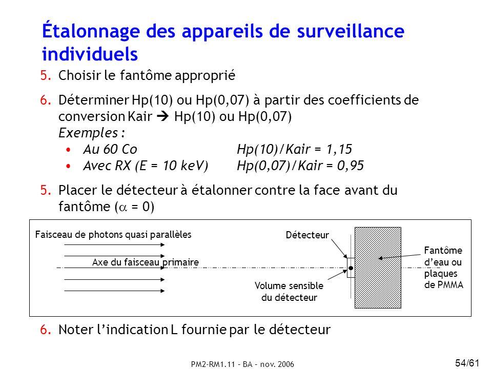 PM2-RM1.11 – BA – nov. 2006 54/61 Étalonnage des appareils de surveillance individuels 5.Choisir le fantôme approprié 6.Déterminer Hp(10) ou Hp(0,07)