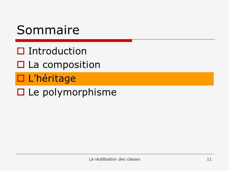 La réutilisation des classes11 Sommaire Introduction La composition Lhéritage Le polymorphisme