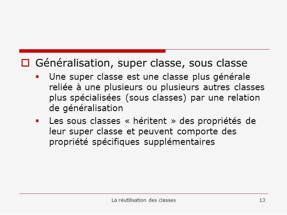 La réutilisation des classes13 Généralisation, super classe, sous classe Une super classe est une classe plus générale reliée à une plusieurs ou plusieurs autres classes plus spécialisées (sous classes) par une relation de généralisation Les sous classes « héritent » des propriétés de leur super classe et peuvent comporte des propriété spécifiques supplémentaires