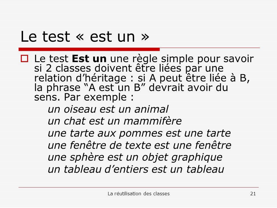 La réutilisation des classes21 Le test « est un » Le test Est un une règle simple pour savoir si 2 classes doivent être liées par une relation dhéritage : si A peut être liée à B, la phrase A est un B devrait avoir du sens.