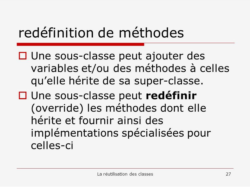 La réutilisation des classes27 redéfinition de méthodes Une sous-classe peut ajouter des variables et/ou des méthodes à celles quelle hérite de sa super-classe.