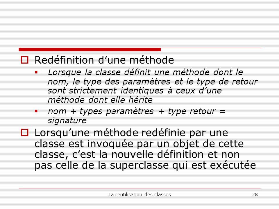 La réutilisation des classes28 Redéfinition dune méthode Lorsque la classe définit une méthode dont le nom, le type des paramètres et le type de retour sont strictement identiques à ceux dune méthode dont elle hérite nom + types paramètres + type retour = signature Lorsquune méthode redéfinie par une classe est invoquée par un objet de cette classe, cest la nouvelle définition et non pas celle de la superclasse qui est exécutée