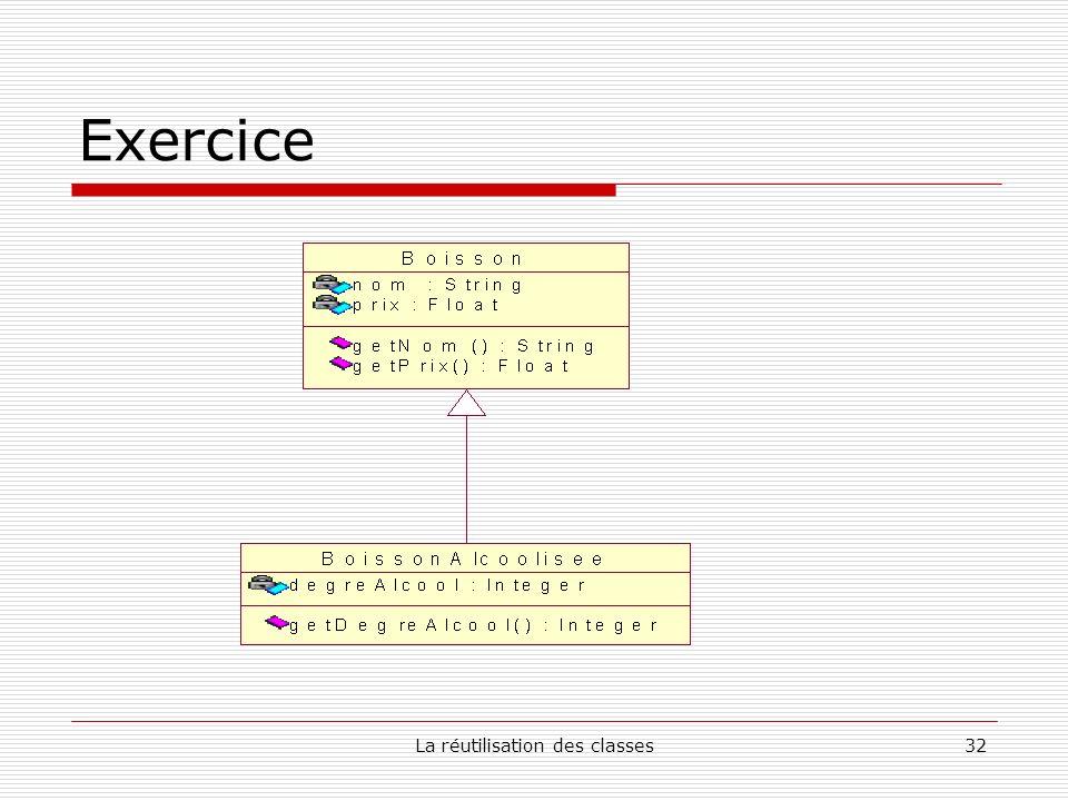 La réutilisation des classes32 Exercice
