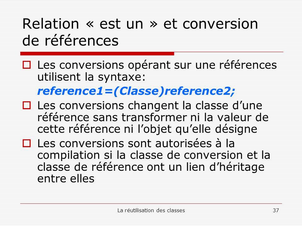 La réutilisation des classes37 Relation « est un » et conversion de références Les conversions opérant sur une références utilisent la syntaxe: refere