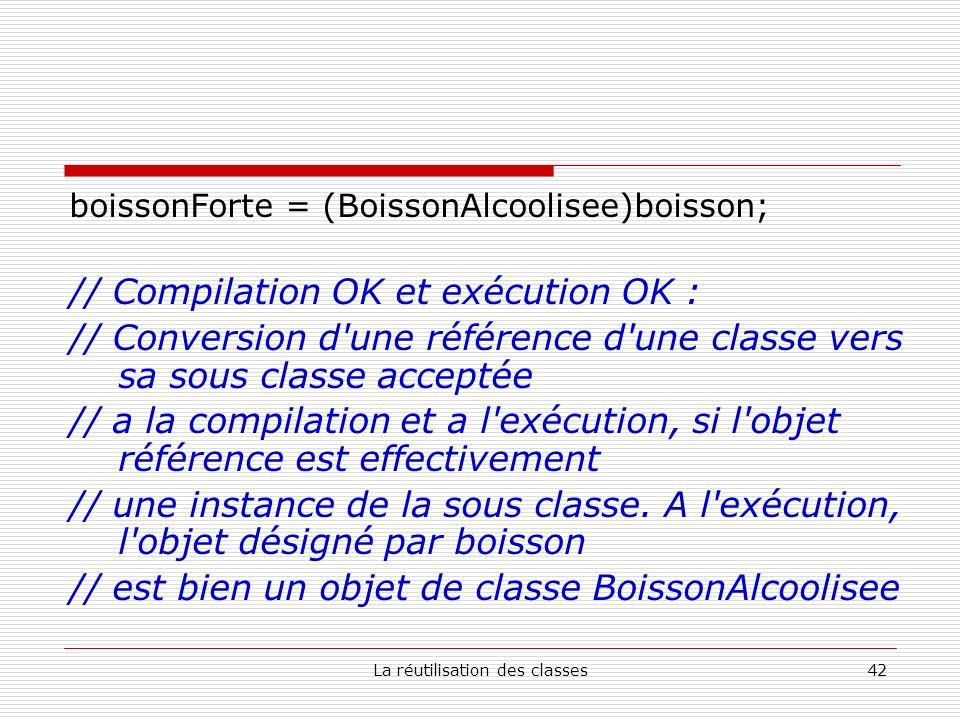 La réutilisation des classes42 boissonForte = (BoissonAlcoolisee)boisson; // Compilation OK et exécution OK : // Conversion d une référence d une classe vers sa sous classe acceptée // a la compilation et a l exécution, si l objet référence est effectivement // une instance de la sous classe.