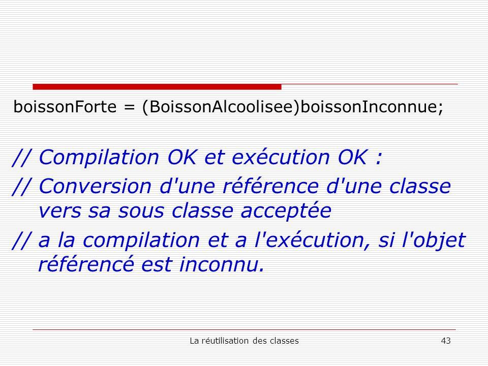 La réutilisation des classes43 boissonForte = (BoissonAlcoolisee)boissonInconnue; // Compilation OK et exécution OK : // Conversion d une référence d une classe vers sa sous classe acceptée // a la compilation et a l exécution, si l objet référencé est inconnu.