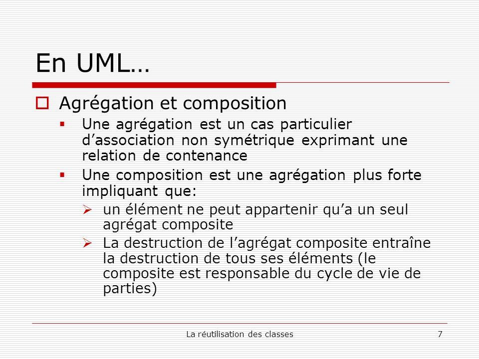 La réutilisation des classes8 La composition Java En Java, la réutilisation en composant sexprime de cette façon: private ClasseReutilisée champ; UML Composite Élément AgrégatÉlément 1..* 0..* 1