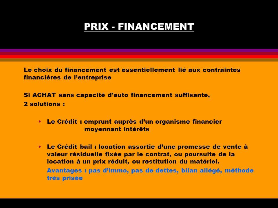 PRIX - FINANCEMENT Le choix du financement est essentiellement lié aux contraintes financières de lentreprise Si ACHAT sans capacité dauto financement