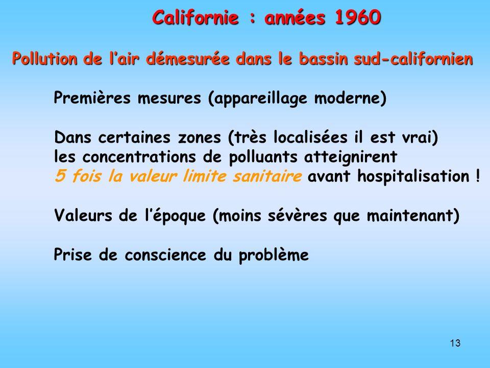 13 Californie : années 1960 Pollution de lair démesurée dans le bassin sud-californien Premières mesures (appareillage moderne) Dans certaines zones (