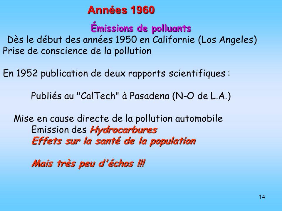 14 Années 1960 Émissions de polluants Dès le début des années 1950 en Californie (Los Angeles) Prise de conscience de la pollution En 1952 publication