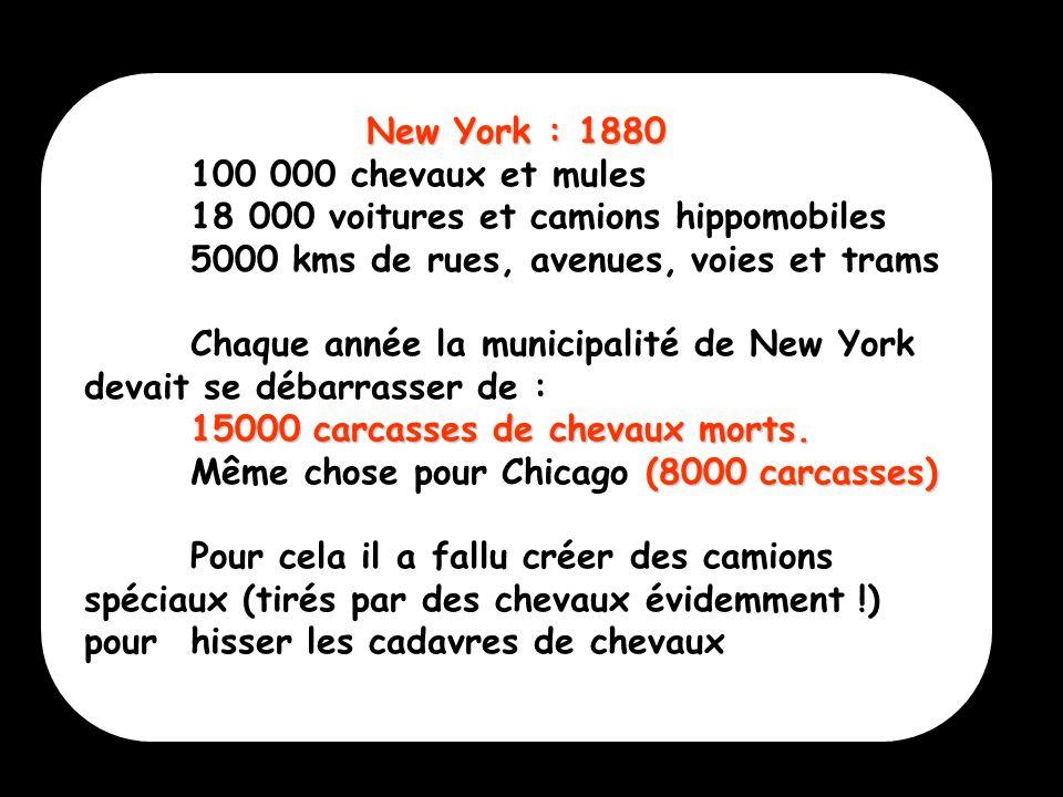 3 New York : 1880 100 000 chevaux et mules 18 000 voitures et camions hippomobiles 5000 kms de rues, avenues, voies et trams Chaque année la municipal