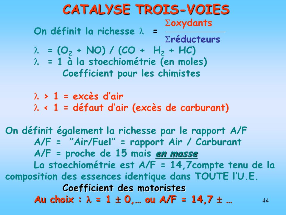 44 CATALYSE TROIS-VOIES oxydants On définit la richesse = réducteurs = (O 2 + NO) / (CO + H 2 + HC) = 1 à la stoechiométrie (en moles) Coefficient pou
