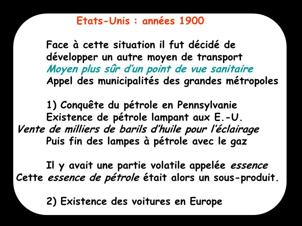 6 Etats-Unis : années 1900 Face à cette situation il fut décidé de développer un autre moyen de transport Moyen plus sûr dun point de vue sanitaire Ap
