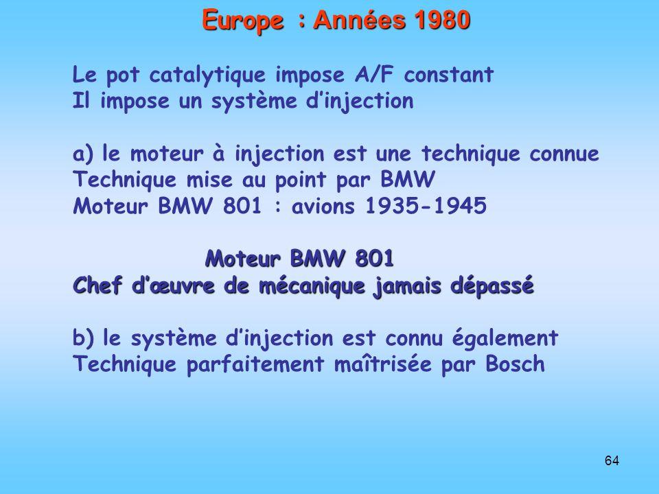 64 Europe : Années 1980 Le pot catalytique impose A/F constant Il impose un système dinjection a) le moteur à injection est une technique connue Techn