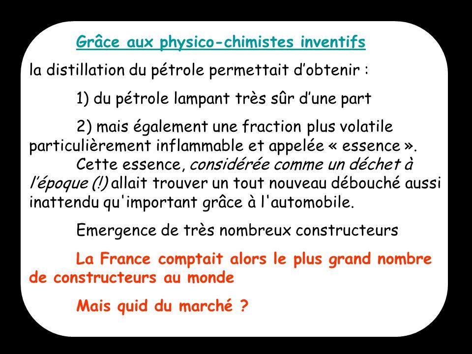 7 Grâce aux physico-chimistes inventifs la distillation du pétrole permettait dobtenir : 1) du pétrole lampant très sûr dune part 2) mais également un